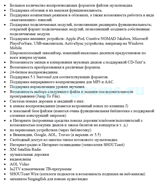 Функциональность программы Винамп на русском