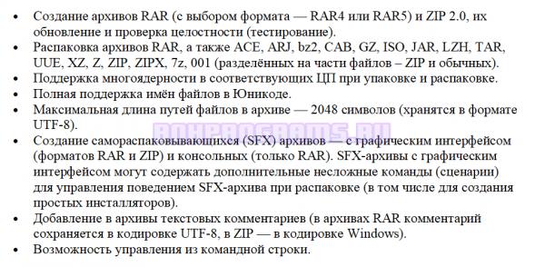 Основные характеристики программы Винрар