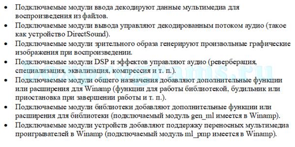 Типы подключаемых модулей Винамп