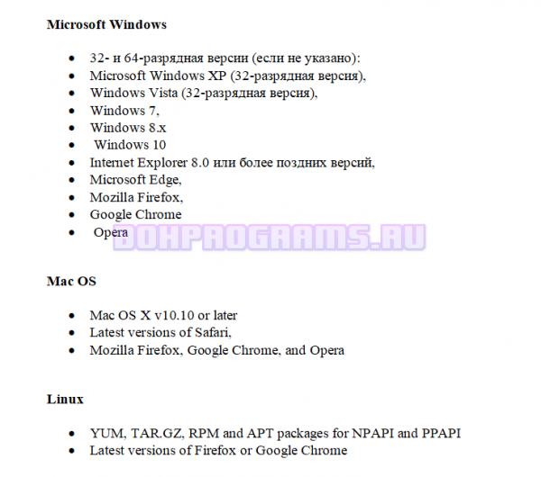 Системные требования Adobe Flash Player
