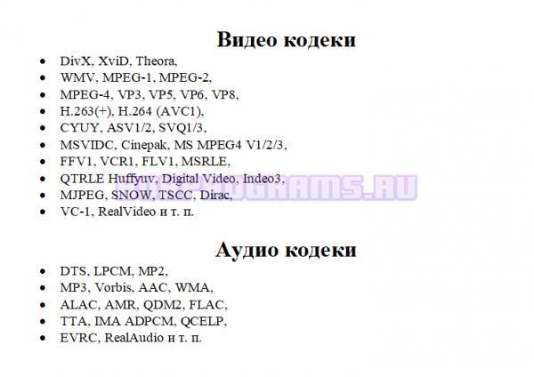 Используемые кодеки в KMP плеер