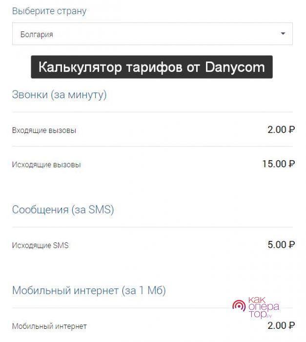 Роуминг за границей от Danycom